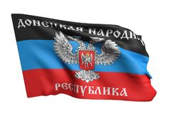 Donetsk Peoples Republic flag waving. 3d rendering of Donetsk Peoples Republic flag waving on white background Royalty Free Stock Photo