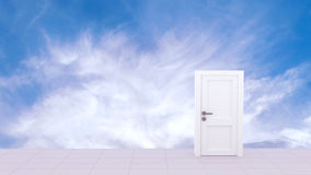 3d Rendering of Door to the heaven. In sky background Royalty Free Stock Images