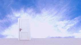 3d Rendering of Door to the heaven. In sky background Stock Photo