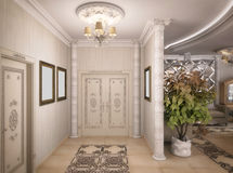 3D rendering of a drawing room, corridor and kitchen in classica Stock Image