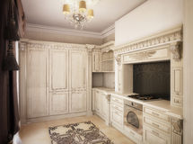 3D rendering of a drawing room, corridor and kitchen in classica Royalty Free Stock Photos