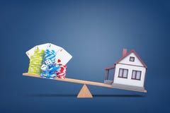 3d rendering drewniany widzii zobaczył z małym domem nad ważyć rozgałęźnika uprawia hazard układy scalonych, kostki do gry i kart obraz royalty free