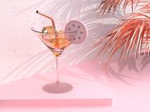 3d rendering Drink glass lemon tea abstract pink scene stock illustration