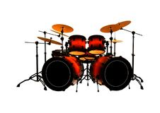 3D Rendering Drums Set on White Royalty Free Stock Image