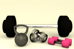 3D rendering of Dumbbells and Kettlebell weight royalty free illustration