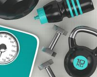 3d rendering dumbbells, skala, kettlebell i gym potrząsacz, Zdjęcie Royalty Free