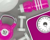 3d rendering dumbbells, skala, kettlebell i gym potrząsacz, Ilustracja Wektor