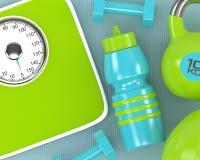3d rendering dumbbells, skala, kettlebell i gym potrząsacz, Obrazy Royalty Free