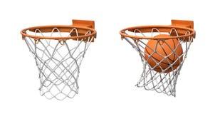 3d rendering dwa koszykówki sieci z pomarańczowymi obręczami, jeden pusty i jeden z piłką spada inside, ilustracja wektor
