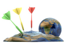 Earth deflated by darts. 3d rendering of Earth deflated by darts isolated on white background Stock Photos