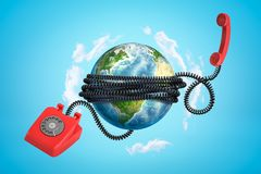 3d rendering of earth globe covered with red retro relephone cord on blue background royalty free stock photo