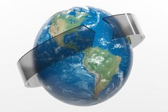 3D rendering earth with ring stock photos
