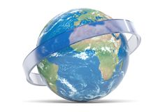 3D rendering earth with ring stock photography