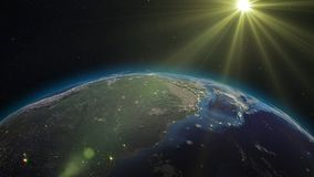 3D rendering planet Earth from space against the background. 3D rendering Earth from space against the background of the starry sky and the Sun. Shadow and Royalty Free Stock Photos