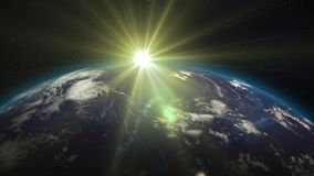 3D rendering planet Earth from space against the background. 3D rendering Earth from space against the background of the starry sky and the Sun. Shadow and Stock Photos
