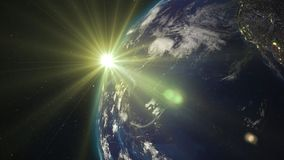 3D rendering planet Earth from space against the background. 3D rendering Earth from space against the background of the starry sky and the Sun. Shadow and Stock Image