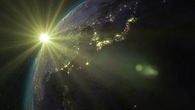 3D rendering planet Earth from space against the background. 3D rendering Earth from space against the background of the starry sky and the Sun. Shadow and Stock Photo