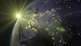 3D rendering planet Earth from space against the background. 3D rendering Earth from space against the background of the starry sky and the Sun. Shadow and Royalty Free Stock Images