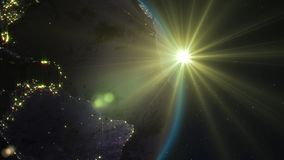 3D rendering planet Earth from space against the background. 3D rendering Earth from space against the background of the starry sky and the Sun. Shadow and Stock Photography