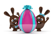 3d rendering of Easter bunnies with present egg Stock Photos