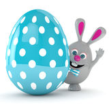 3d rendering of Easter bunny with Easter egg. Isolated over white background Royalty Free Stock Photos