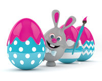 3d rendering of Easter bunny with Easter eggs Stock Photography