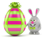 3d rendering of Easter bunny egg with present egg Royalty Free Stock Photo