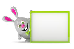 3d rendering of Easter bunny holding board. 3d rendering of Easter bunny holding advertising board Royalty Free Stock Photos