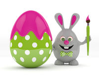3d rendering of Easter bunny with painted egg Stock Photo