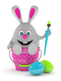 3d rendering of Easter bunny with painted eggs Royalty Free Stock Photo