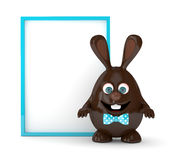 3d rendering of Easter chocolate bunny egg with board. 3d rendering of Easter chocolate bunny egg with advertising board Stock Images