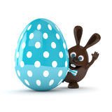 3d rendering of Easter chocolate bunny with egg Royalty Free Stock Photo