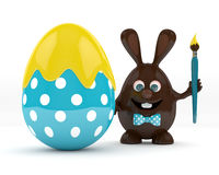3d rendering of Easter chocolate bunny egg with painted egg Royalty Free Stock Photo