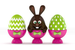 3d rendering of Easter chocolate bunny egg with painted eggs Royalty Free Stock Image