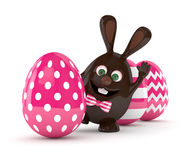 3d rendering of Easter chocolate bunny egg with painted eggs. Isolated over white background Royalty Free Stock Photo