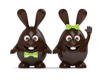 3d rendering of Easter chocolate bunny eggs Royalty Free Stock Photos