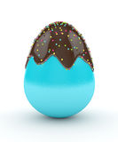 3d rendering of Easter egg with chocolate glaze and sprinkles Stock Photos