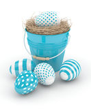 3d rendering of Easter eggs with decorative bucket Royalty Free Stock Photo