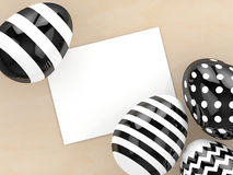 3d rendering of Easter eggs with empty note Royalty Free Stock Image