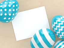 3d rendering of Easter eggs with empty paper note Stock Photos