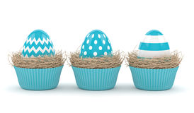 3d rendering of Easter eggs in muffin nests. Isolated over white background Royalty Free Stock Photo