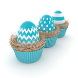 3d rendering of Easter eggs in muffin nests Stock Photo
