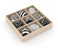 3d rendering of Easter eggs in wooden box. Isolated over white background Stock Photos