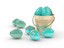 3d rendering of Easter glitter and turquoise eggs with bucket Stock Photography