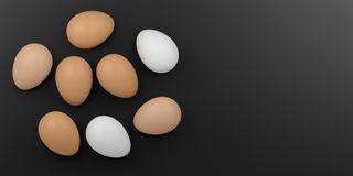 3d rendering eggs on black background Stock Photo