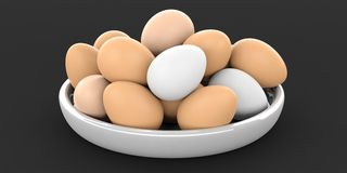 3d rendering eggs in a bowl on black background. 3d rendering brown and white eggs in a bowl on black background Stock Image