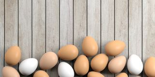 3d rendering eggs on a wooden background Royalty Free Stock Photography