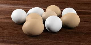 3d rendering eggs on a wooden background Royalty Free Stock Images