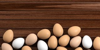 3d rendering eggs on a wooden background Stock Photo
