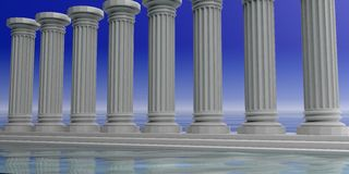 3d rendering eight white marble pillars Stock Photography